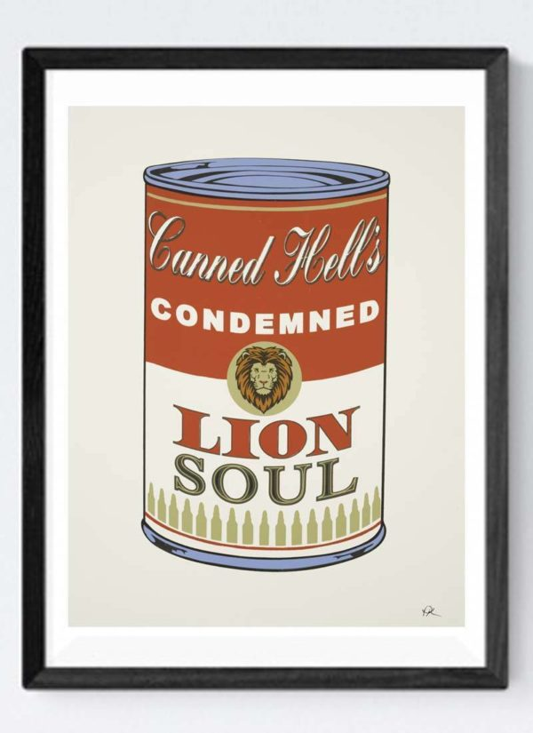 Andy Warhol style soup can with the words Canned Hell's condemned lion soul