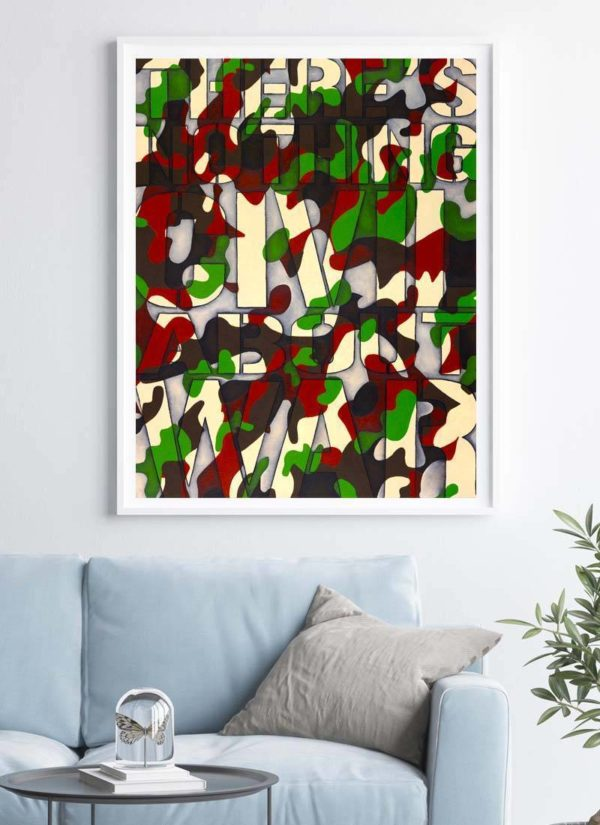 Giclee camo print with the text 'There's nothing civil about war'