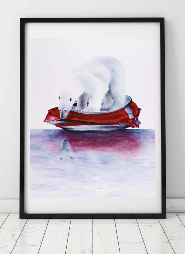 'Cola Bear' Open Edition Giclee Print By Paul Kneen Features A Handpainted Polar Bear Floating Along On A Crushed Can Of Coke.