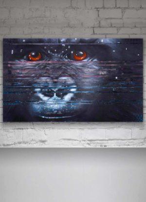Interference Mountain Gorilla Original Painting On Canvas