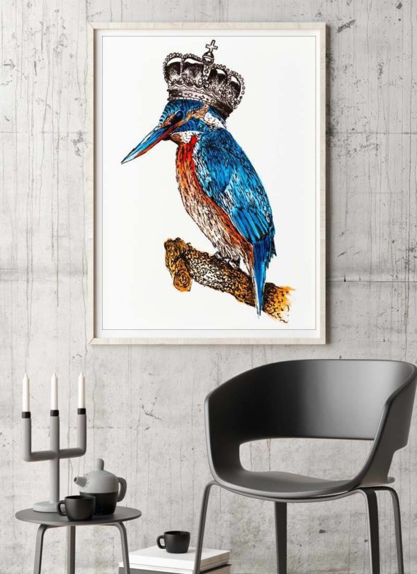 Stunning giclee print of a Kingfisher wearing a crown