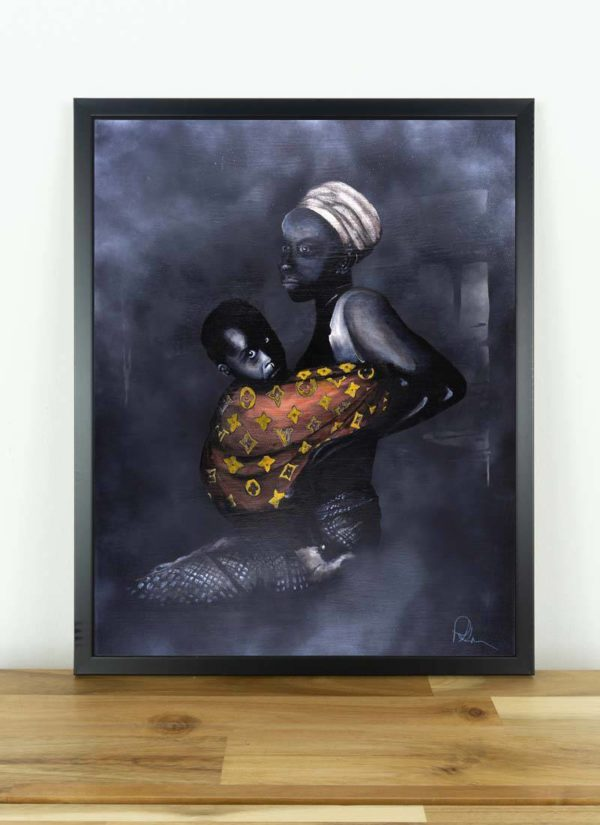 Signed giclee print created with spray paint, acrylics and marker pens depicting a woman holding her child wraped in a Louis Vuitton blanket