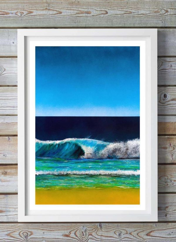 Seascape fine art print by Sally Shephard shows a crashing wave created using spraypaints, acrylics, posca pens and charcoal