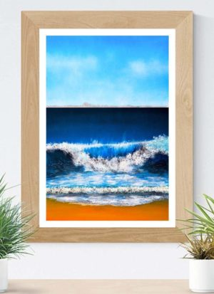Beautiful giclee fine art seascape signed print depicting a crashing wave by Sally Shephard