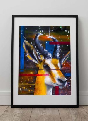 Springbok giclee art print on 310gsm German etching paper