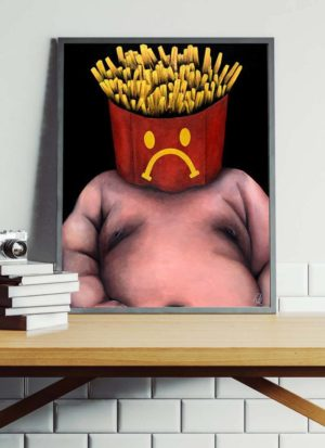 Unique giclee print of overweight person with fries for a head. Painted using acrylics, spray paint and marker pens.