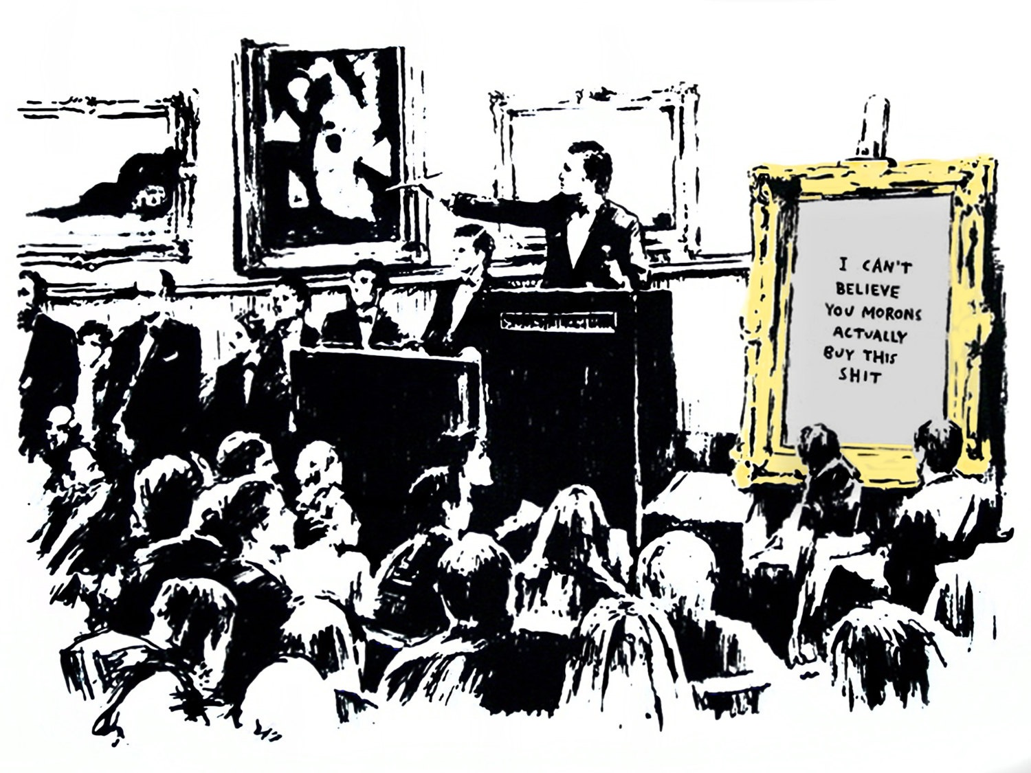 Banksy's painting showing why art shouldn't be bought as an investment