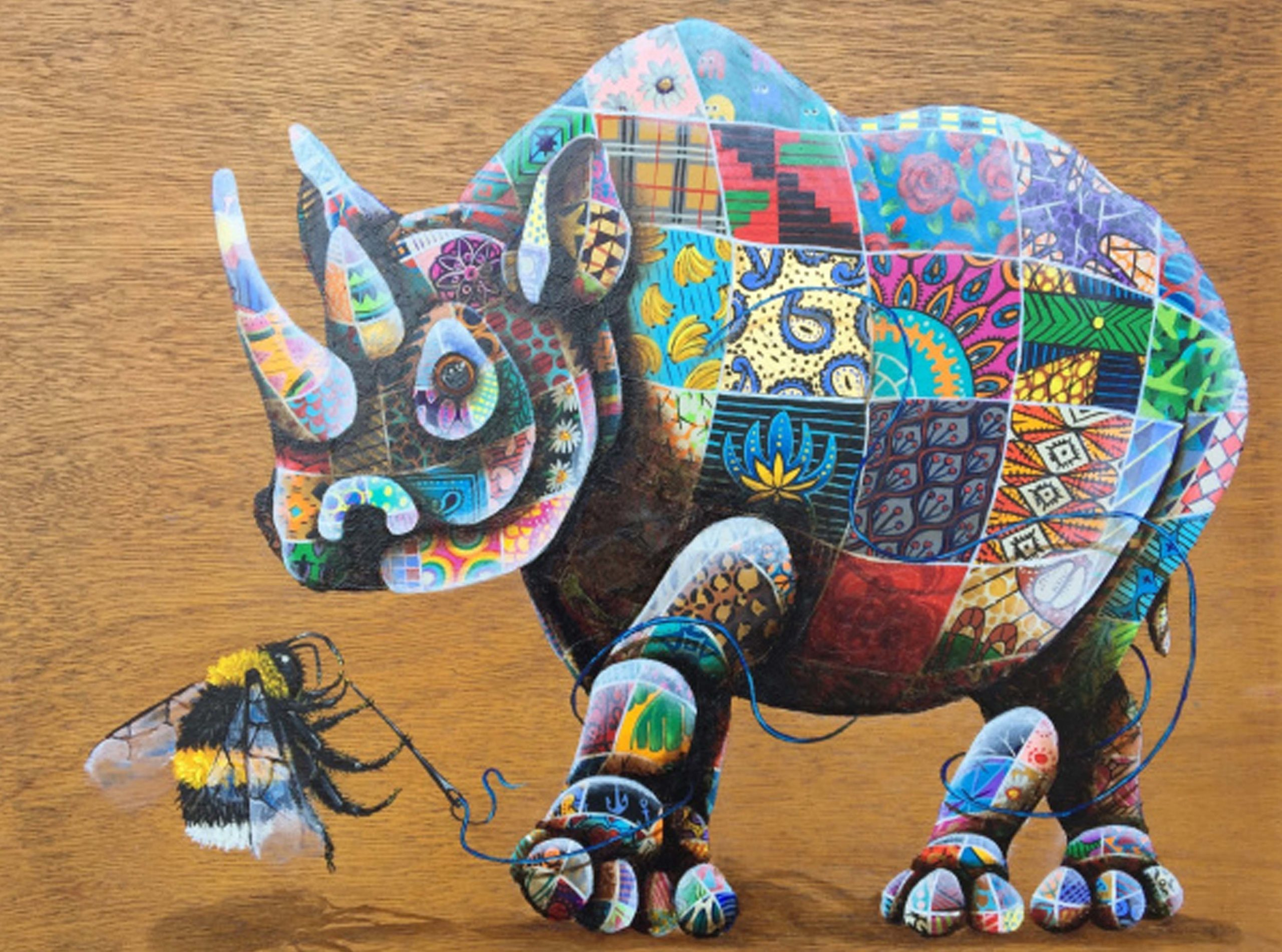 Rhino and Bee painted by Louis Masai Michel