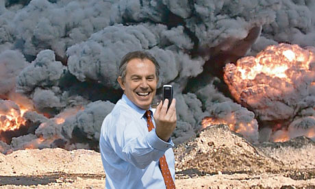Tony Blair taking a selfie in front of burning oil fields. 'Photo Op' by Peter Kennard and Cat Phillips.