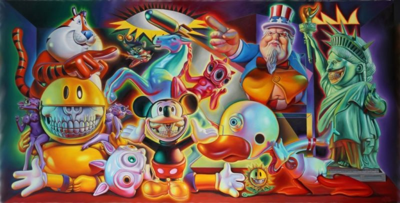 Consumerism piece by Ron English features many popular and cultural icons