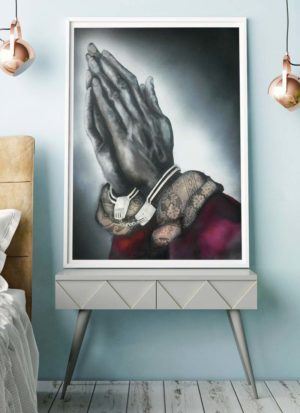 Giclee print of praying hands in handcuffs