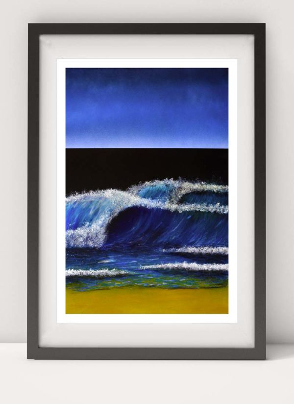 Seascape giclee print showing a stormy sea created with spray paint, marker pens and charcoal