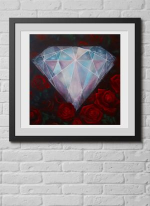 Hand painted diamond and roses signed giclee print