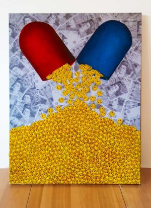 'Happy Pills' original art by Paul Kneen