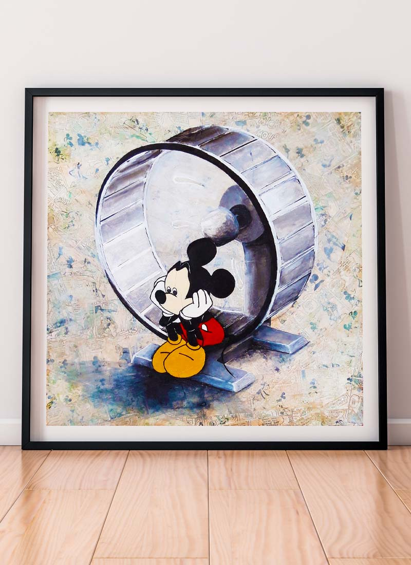 Mickey Mouse on a hamster wheel signed giclee print