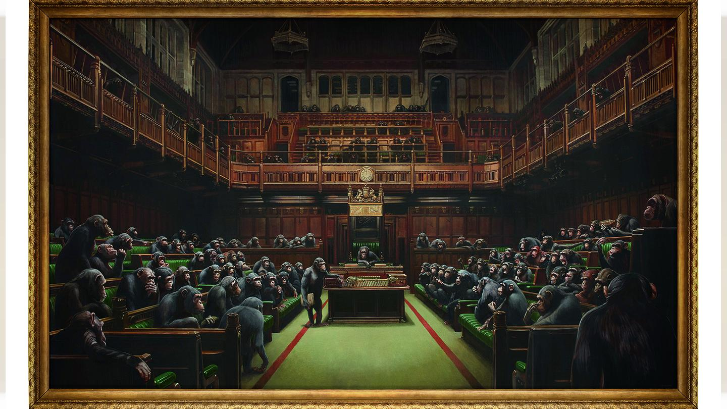 Devolved Parliament features the House of Commons filled with chimpanzees.