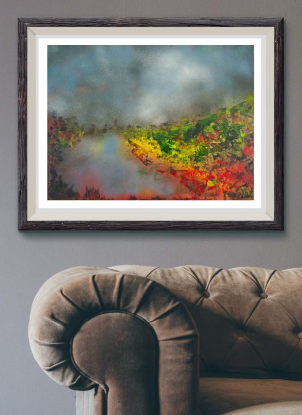 The stillness of light is a vibrant abstract landscape print from UK artist Sarah Perkins