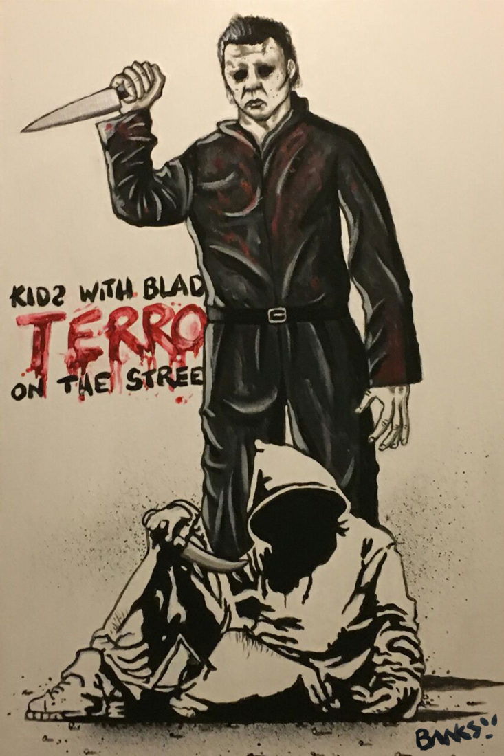 'Kids with blades' features Halloween movie character Michael Myers towering over a knife wielding hooded youth. This is the latest piece by the guy claiming to be the original Banksy.
