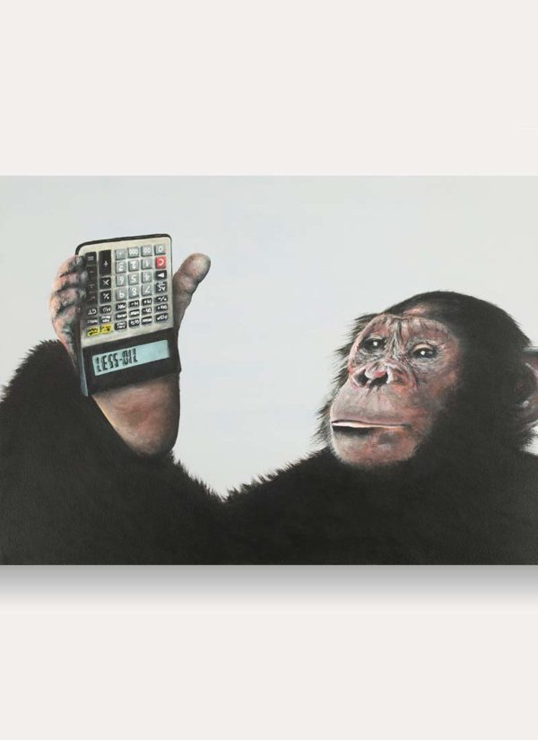 A stunning acrylic painted chimpanzee holding a calculator upside down that spells out the words Less Oil