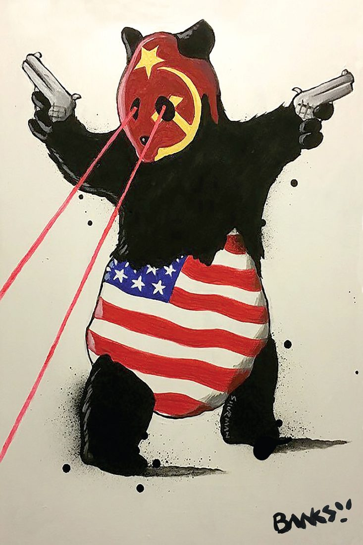Banksy's 2019 version of his famous panda stencil gets a remake, commenting on the political situation between Amreica and China