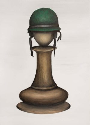 A chess pawn wearing a soldiers helmet painted in acrylics on a stretched canvas