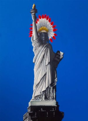Home of the brave depicts the Statue Of Liberty wearing an Indian head dress