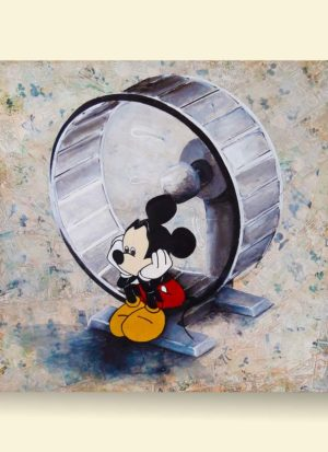 'Round & Round We Go' original signed art by Paul Kneen features Mickey Mouse looking very sorry for himself sat on a hamster wheel