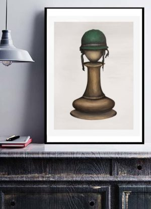 Pawn with army hat framed signed print