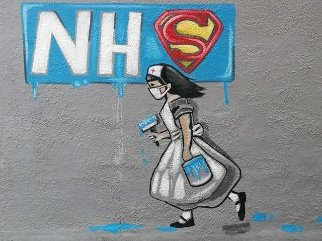 Rachel List expresses her opinion of the NHS with this wonderful painting