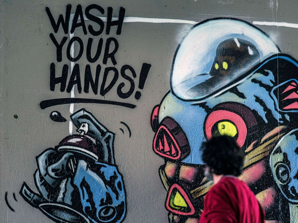 Wash your hands spray paint art
