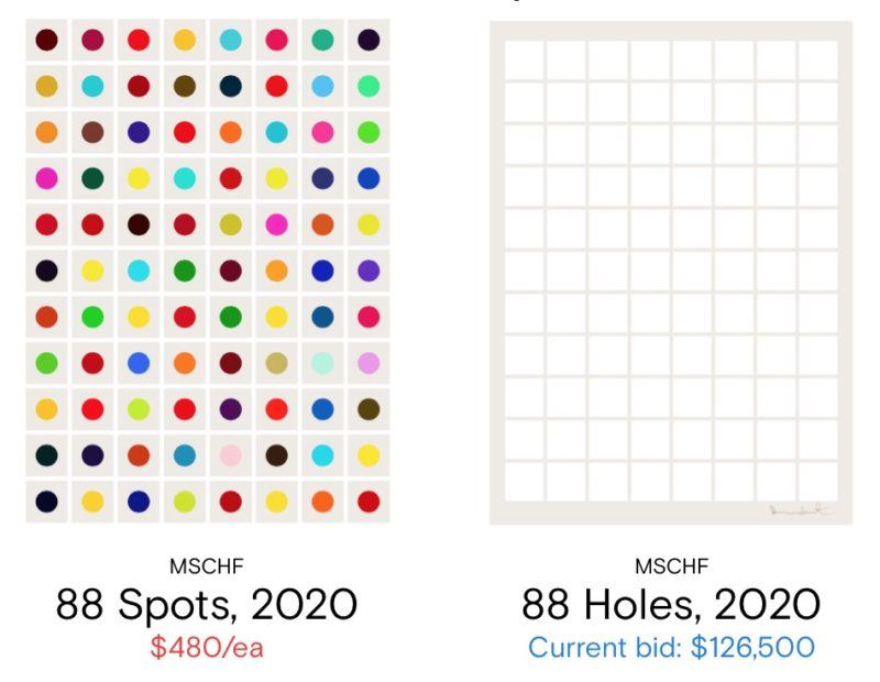 All the 'Severed Spots' are sold. We wonder how much the '88 holes' will sell for?
