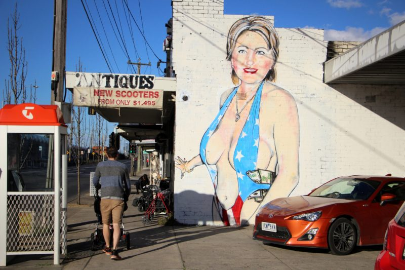 Hilary Clinton mural by Lushsux