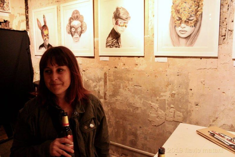 Raffaella with some of her work for the 'More than the face' exhibition