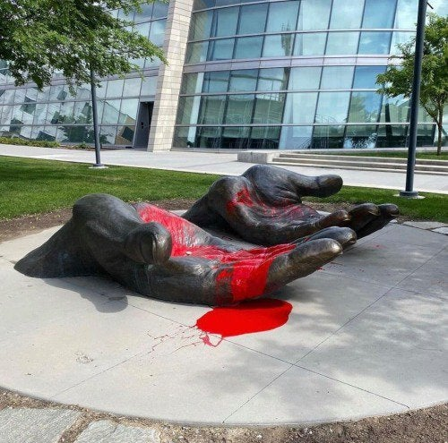 The 'Serve & Protect' Sculpture now with symbolic red paint