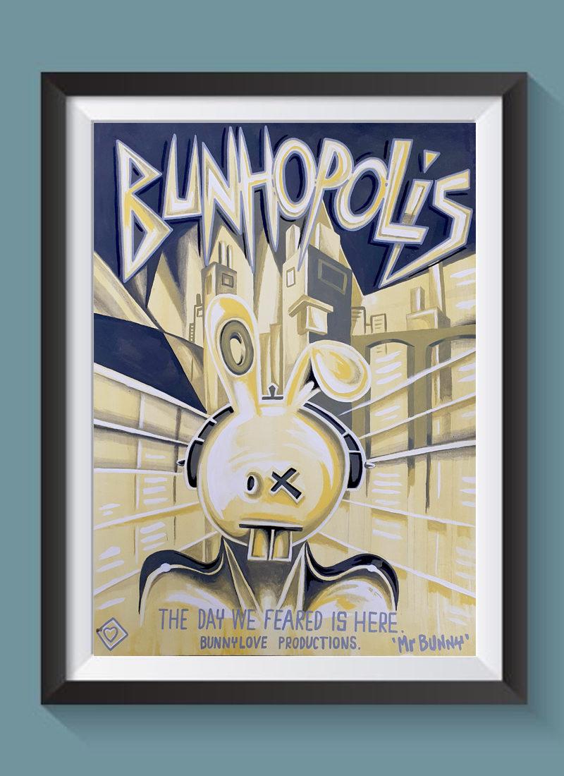 Bunhopolis fine art print illustration by Mr Bunny