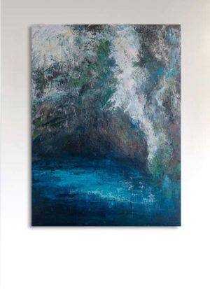'Limni' original acrylic landscape abstract painting by Fiona McLauchlan Hyde