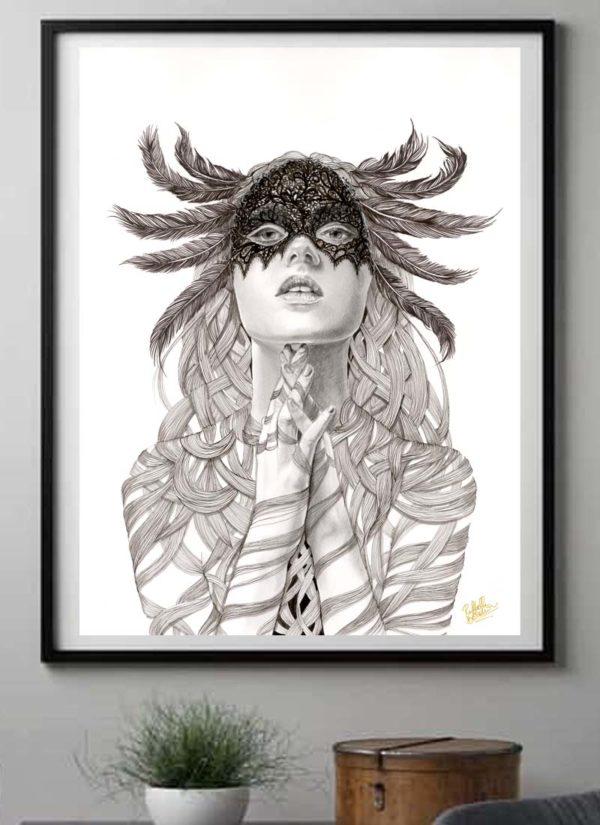 Sorceress female portrait art print by Raffaella Bertolini