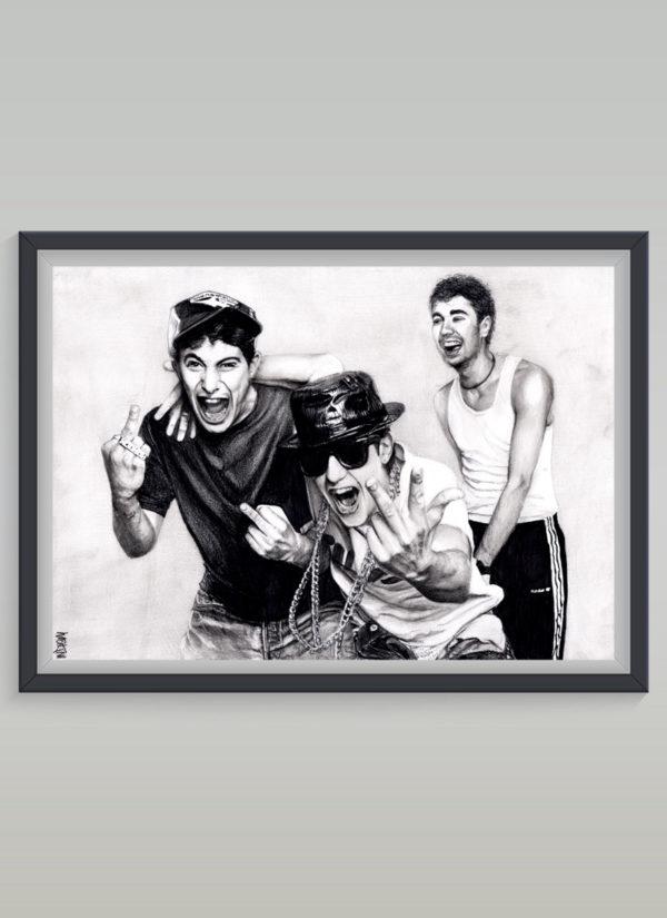 Beastie Boys tribute art portrait print by Indie Matharu