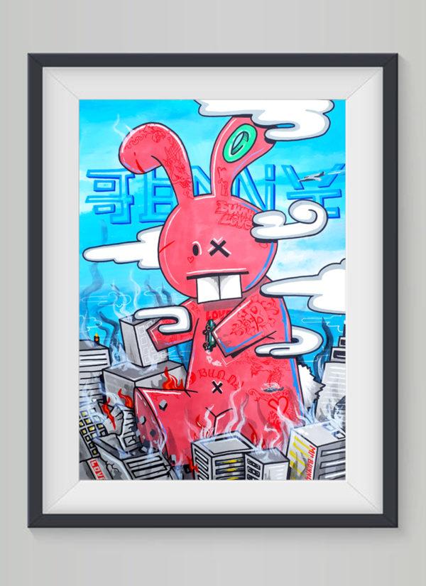 Bunzilla fine art illustration giclee print by Mr Bunny