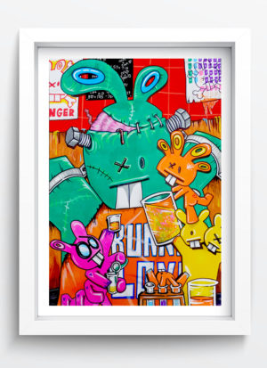 back in the lab illustrated fine art print by Mr Bunny