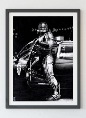 Robocop fine art portrait giclee print by Indie Matharu