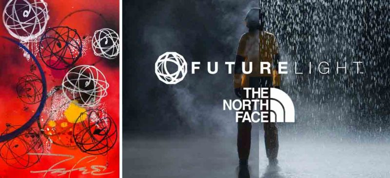 One of Futura's iconic atom paintings alongside The North Face's FUTURELIGHT campaign posters complete with atom logo