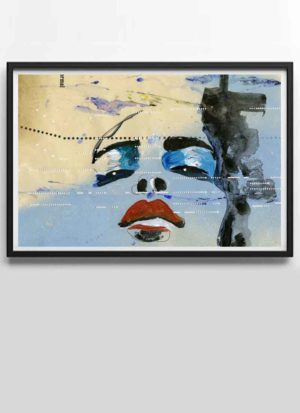 Blue modern portrait fine art print by Donna Poingdestre