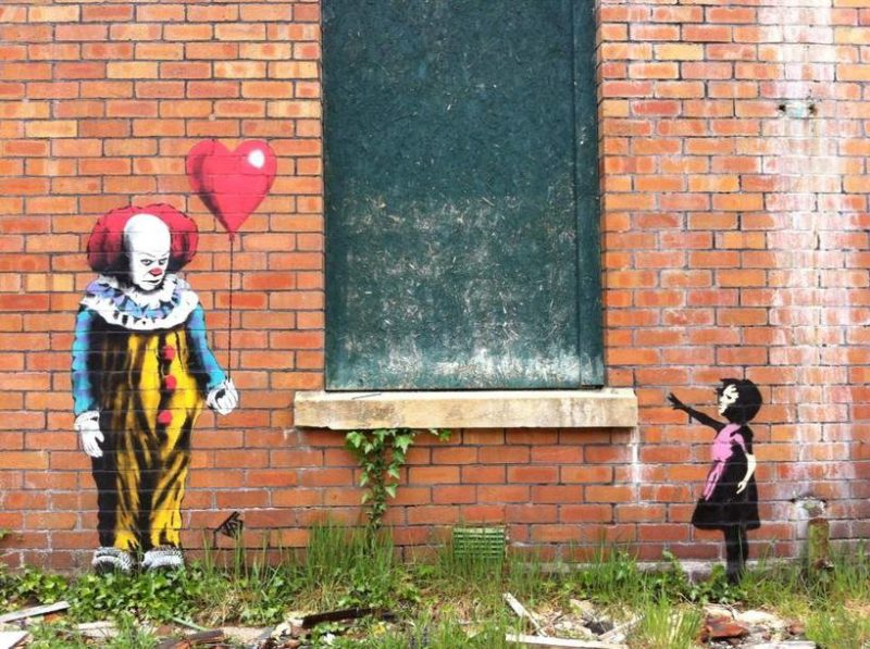 A clever twist by JPS on the iconic Balloon Girl by Banksy