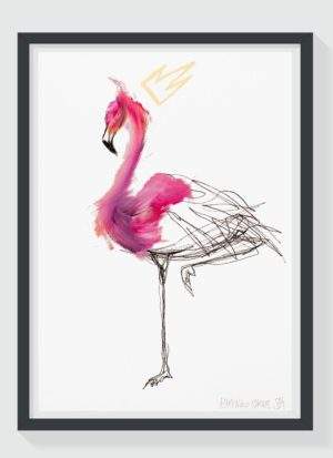 Flamingo Strut A2 Hand Finished Signed Art Print by Sophie Mills-Thomas