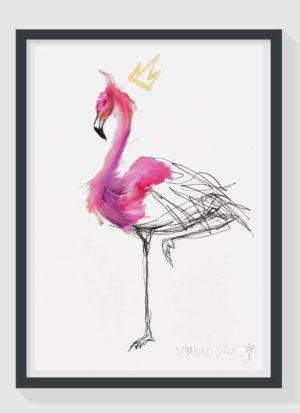 Flamingo Strut A4 Fine Art Gold Leaf Print by Sophie Mills-Thomas
