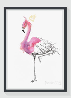 Flamingo Strut A4 Hand Finished Signed Giclee Art Print by Sophie Mills-Thomas