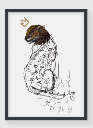 Jag A4 Hand Finished Gold Leaf Jaguar Art Print by Sophie Mills-Thomas