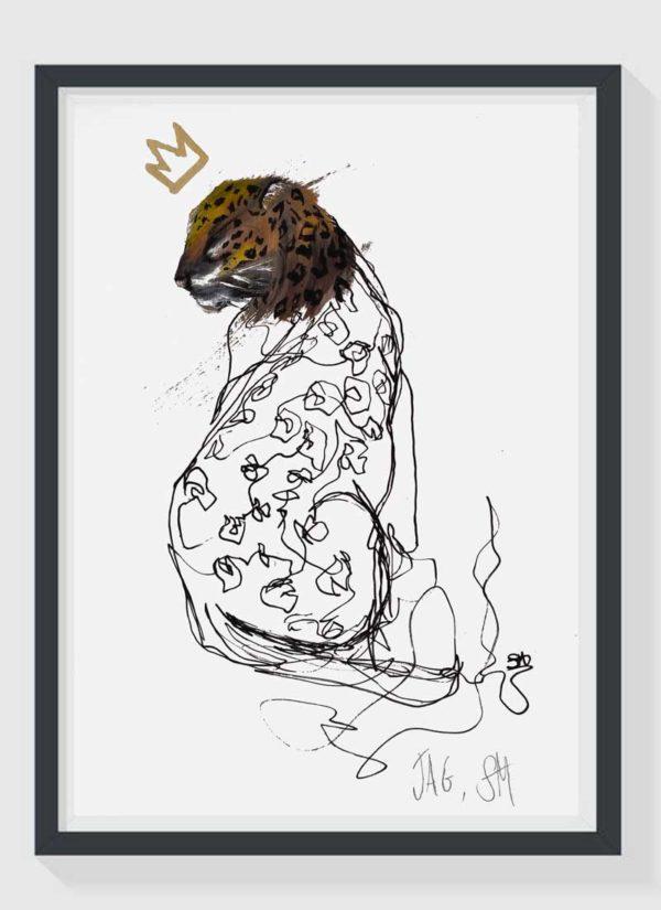 Jag A4 Hand Finished Gold Leaf Jaguar Art Print by Sophie Mills-Thomas