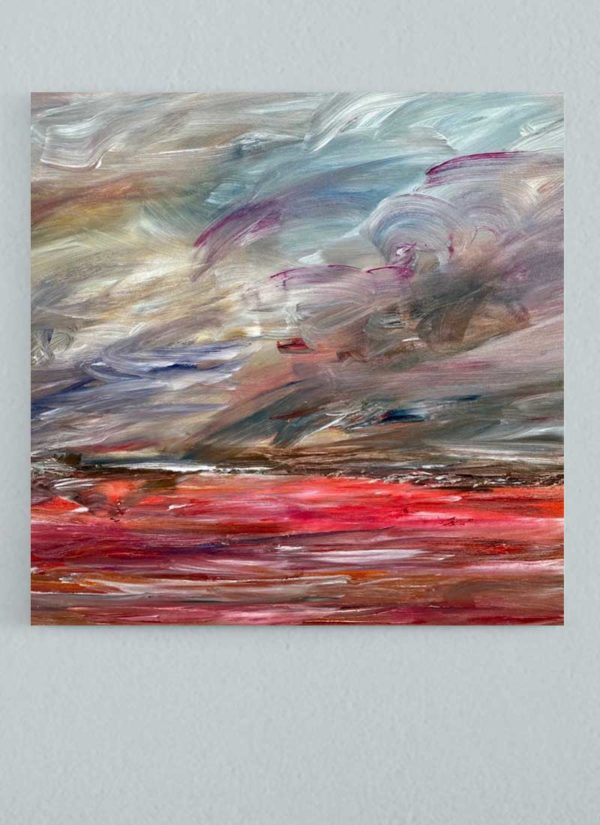Far Away Original Mixed Media Abstract Landscape by Helen Lack